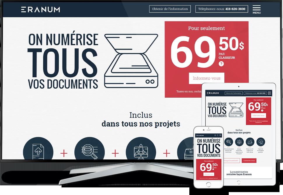 Réalisation - Eranum numérisation de documents- Conception de sites Web - Eraweb l'agence créative
