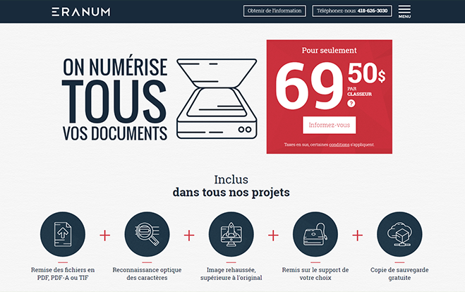 Conception de sites Web - Réalisation - Eranum numérisation de documents - Conception de sites Web - Eraweb l'agence créative